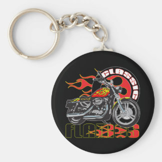 Vintage Classic Flame Paint Job Motorcycle Basic Round Button Key Ring