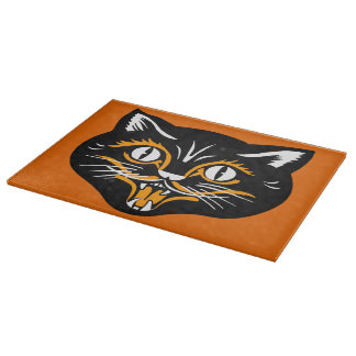 Vintage Classic Halloween Black Cat Face Fangs Cutting Board