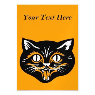 Vintage Classic Halloween Black Cat Face Fangs Magnetic Invitations
