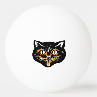 Vintage Classic Halloween Black Cat Face Fangs Ping Pong Ball