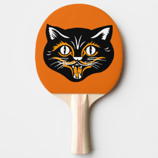 Vintage Classic Halloween Black Cat Face Fangs Ping Pong Paddle