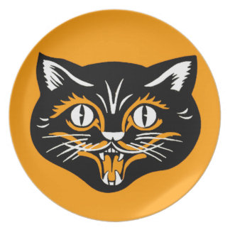 Vintage Classic Halloween Black Cat Face Fangs Plate