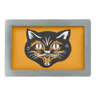 Vintage Classic Halloween Black Cat Face Fangs Rectangular Belt Buckle