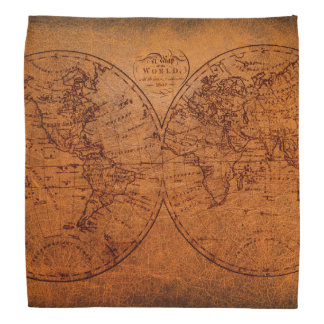 Vintage Classic Old World Travel Map Head Kerchiefs