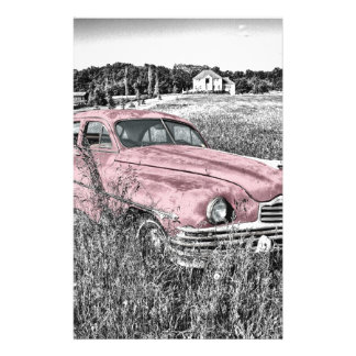 Vintage Classic Pink Car Customized Stationery