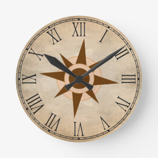 Vintage Classic Pirate Ship Compass Nursery Decor Round Clock