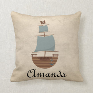 Vintage Classic Pirate Ship Nursery Decor Cushion