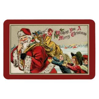 Vintage classic Santa, bag of toys, children Rectangular Photo Magnet