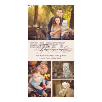 Vintage Classic Scrolls Thanksgiving Holiday Photo Card