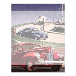 Vintage Classic Sedan Cars Driving on the Freeway 21.5 Cm X 28 Cm Flyer