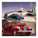 Vintage Classic Sedan Cars Driving on the Freeway 13 Cm X 13 Cm Square Invitation Card