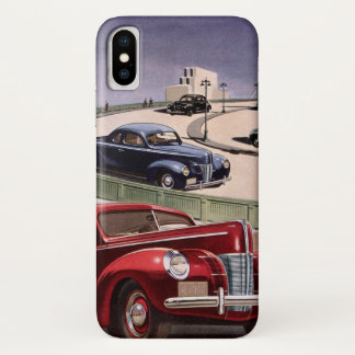Vintage Classic Sedan Cars Driving on the Freeway iPhone X Case
