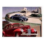 Vintage Classic Sedan Cars Driving on the Freeway Postcard