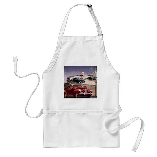 Vintage Classic Sedan Cars Driving on the Freeway Standard Apron