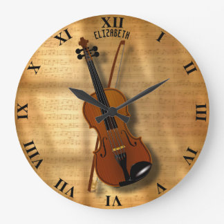 Vintage Classic Violin With A Bow Large Clock