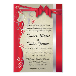Vintage Classy Curvy Design | Deep Red 13 Cm X 18 Cm Invitation Card
