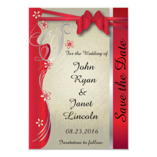 Vintage Classy Curvy Design | Deep Red 9 Cm X 13 Cm Invitation Card