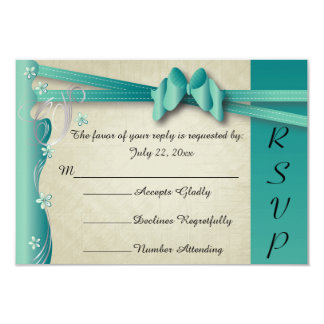 Vintage Classy Curvy Design | Jade and Silver 9 Cm X 13 Cm Invitation Card