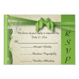 Vintage Classy Curvy Design | Peridot Green 9 Cm X 13 Cm Invitation Card