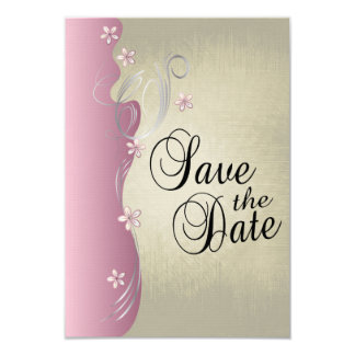 Vintage Classy Curvy Design | Pink and Silver 9 Cm X 13 Cm Invitation Card