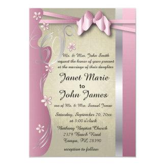 Vintage Classy Curvy Design | Pink Tourmaline 13 Cm X 18 Cm Invitation Card