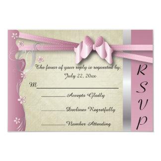 Vintage Classy Curvy Design | Pink Tourmaline 9 Cm X 13 Cm Invitation Card
