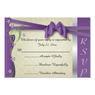 Vintage Classy Curvy Design | Plum Purple & Green 9 Cm X 13 Cm Invitation Card