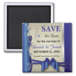 Vintage Classy Curvy Design | Sapphire and Silver Square Magnet