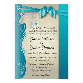 Vintage Classy Curvy Design | Turquoise Blue 13 Cm X 18 Cm Invitation Card