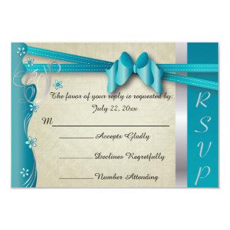 Vintage Classy Curvy Design | Turquoise Blue 9 Cm X 13 Cm Invitation Card