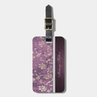 Vintage classy floral personalized luggage tag