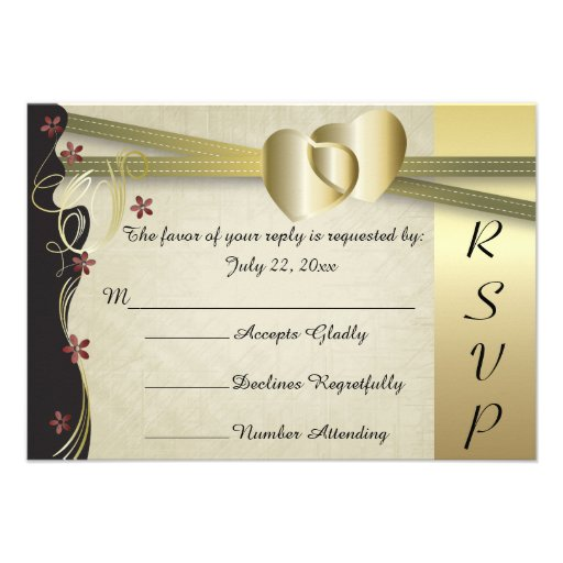 Vintage Classy Gold Heart Wedding Collection Custom Invitations