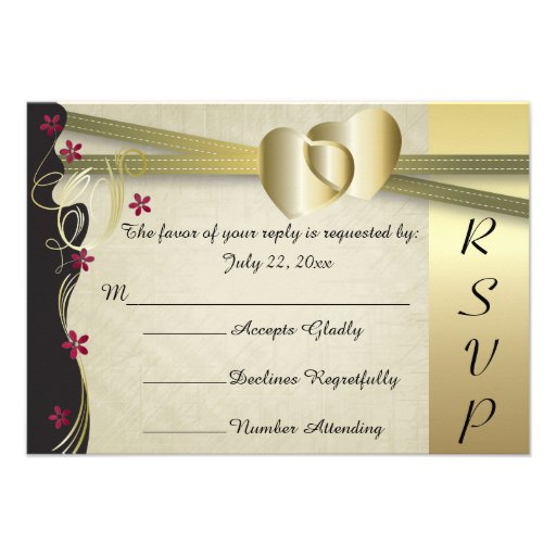 Vintage Classy Gold Heart Wedding Collection Personalized Invites