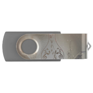 Vintage, clef and piano with Damasks Swivel USB 2.0 Flash Drive