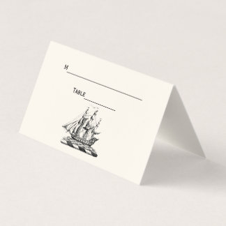 Vintage Clipper Ship Place Escort Card Ivory