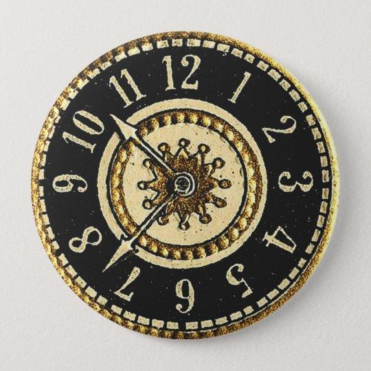 Vintage Clock 10 Cm Round Badge