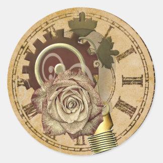 Vintage Clock Collage Classic Round Sticker
