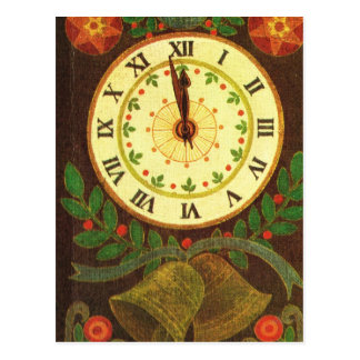 Vintage clock, Countdown to Christmas Postcard