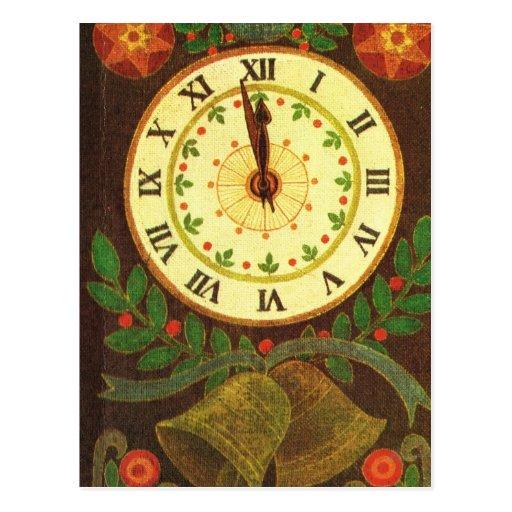 Vintage clock, Countdown to Christmas Postcards