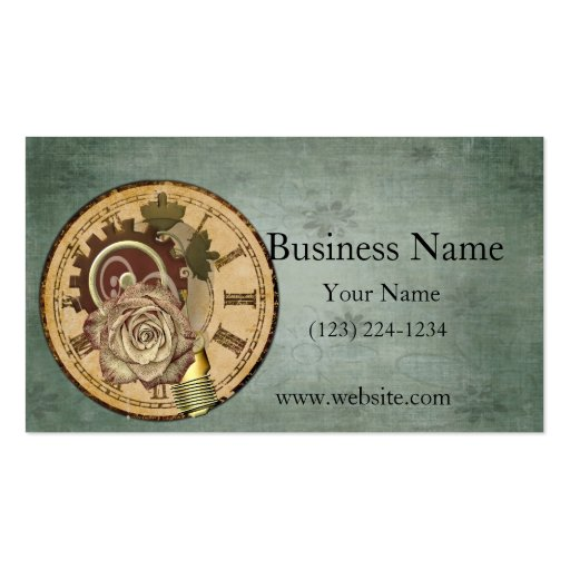 Vintage Clock Face, Rose and Industrial Parts Business Card