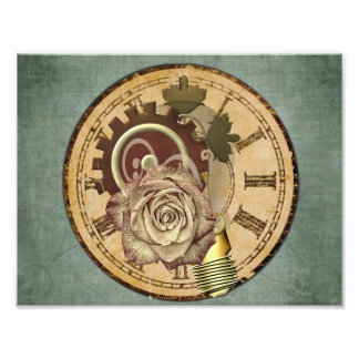 Vintage Clock Face Rose and Industrial Parts Photo Print