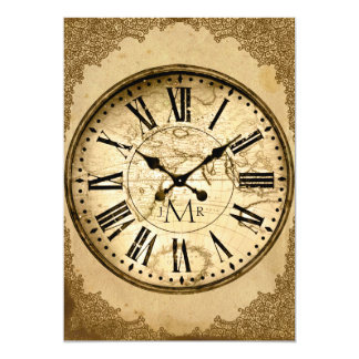 Vintage Clock on Paper First Wedding Anniversary Card