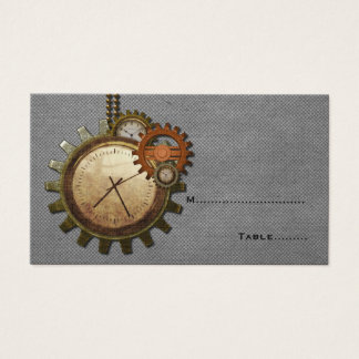 Vintage Clock Place Card, Gray
