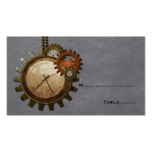 Vintage Clock Place Card, Gray Business Card Template