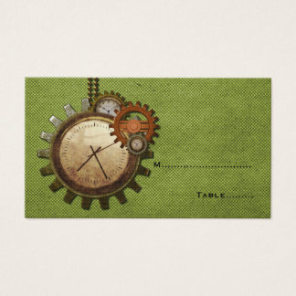 Vintage Clock Place Card, Green