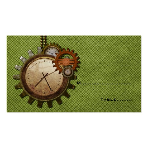 Vintage Clock Place Card, Green Business Cards