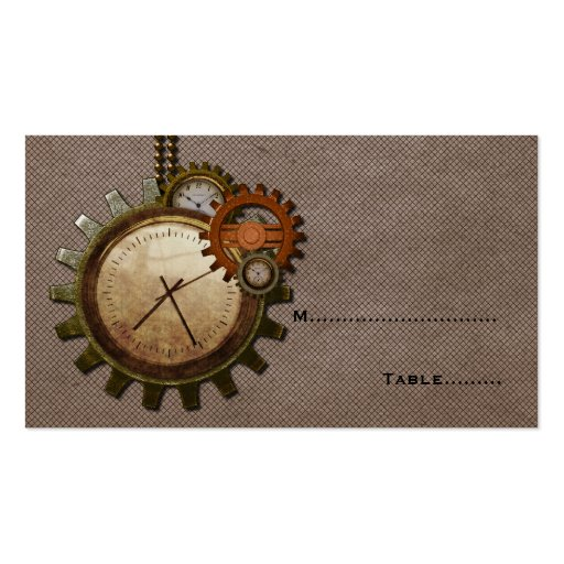 Vintage Clock Place Card, Mocha Business Cards