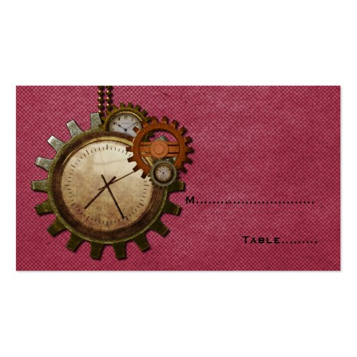 Vintage Clock Place Card, Pink Business Card Templates