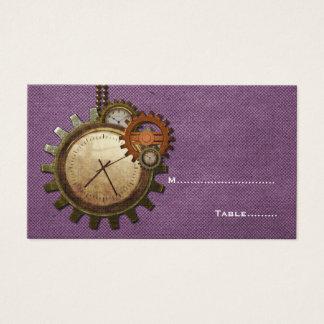 Vintage Clock Place Card, Purple
