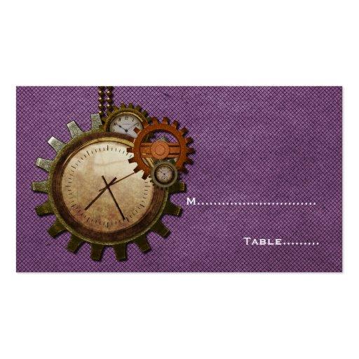 Vintage Clock Place Card, Purple Business Cards